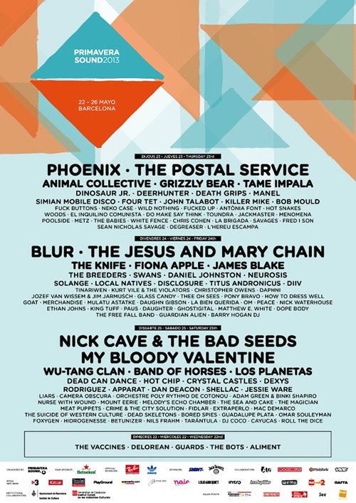 cartel primavera sound 2013